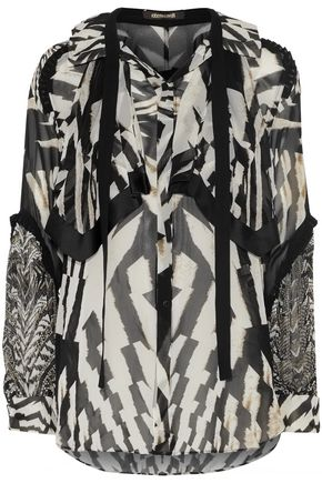 ROBERTO CAVALLI Tie-front pleated printed silk-chiffon blouse