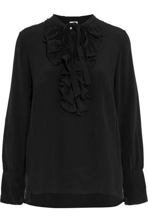 IRIS & INK Pussy-bow and ruffled crepe de chine blouse