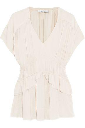 IRO Ruched washed-satin blouse