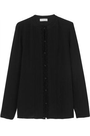 TORY BURCH Pintucked crochet-trimmed silk crepe de chine shirt