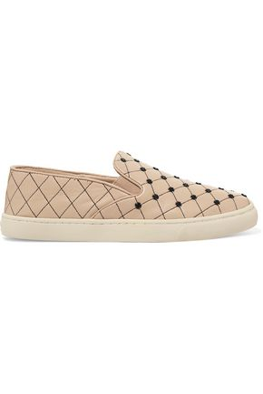 TORY BURCH Embellished quilted leather slip-on sneakers