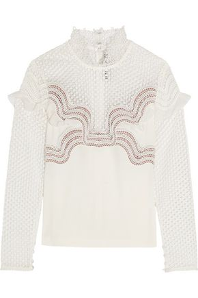 SEE BY CHLOÉ Ruffle-trimmed guipure lace and crepe top