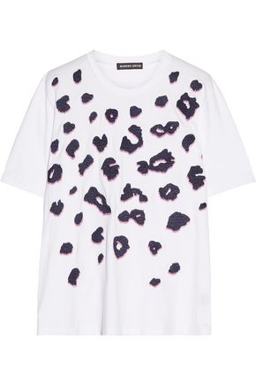 MARKUS LUPFER Embellished embroidered cotton-jersey T-shirt