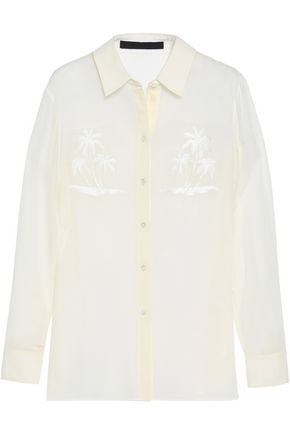 ALEXANDER WANG Embroidered crepe shirt