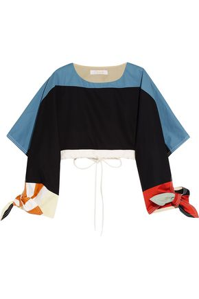 CHLOÉ Cropped color-block cotton-twill top