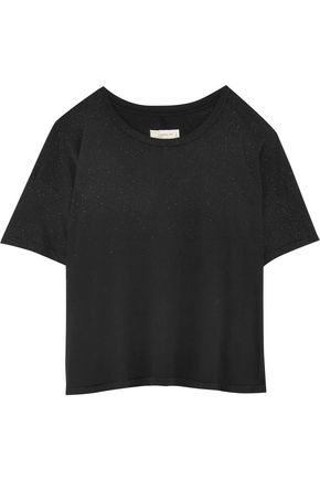 CURRENT/ELLIOTT The Roadie glittered cotton-jersey T-shirt