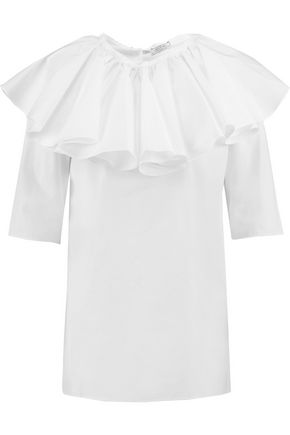 NINA RICCI Layered cotton-poplin top