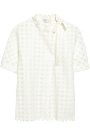 SANDRO Paris Silk-trimmed crochet-knit shirt