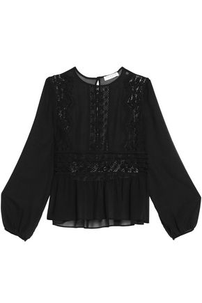 SANDRO Paris Lace-paneled chiffon top