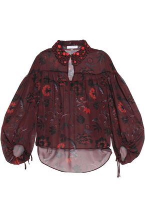SANDRO Embroidered printed chiffon top