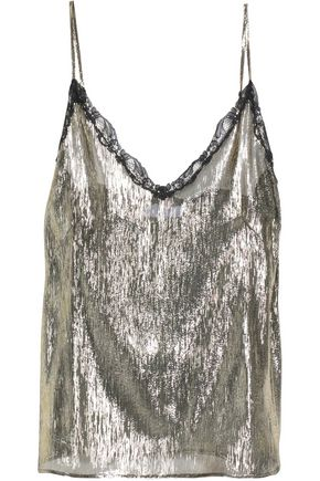 SANDRO Metallic lace-trimmed silk-blend lamé camisole
