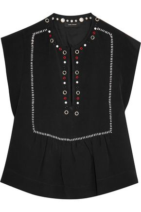 ISABEL MARANT Eyelet and sequin-embellished silk top