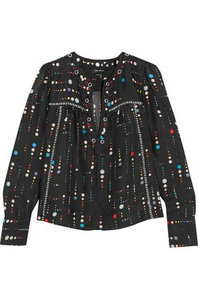 ISABEL MARANT Raynor embellished printed silk-twill blouse