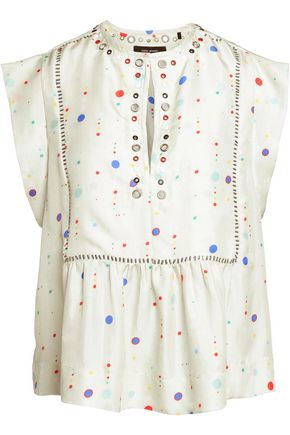 ISABEL MARANT Rosa embellished printed silk blouse