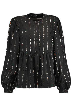 ISABEL MARANT Gathered printed silk blouse