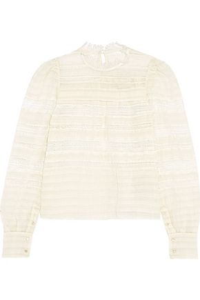 ISABEL MARANT Lace-paneled silk-blend blouse