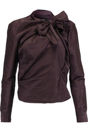 ISABEL MARANT Mista plaid ramie and silk-blend top