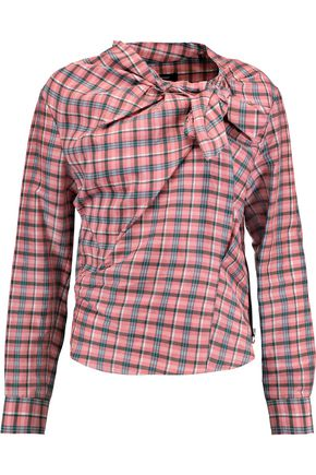 ISABEL MARANT Checked ramie and silk-blend blouse
