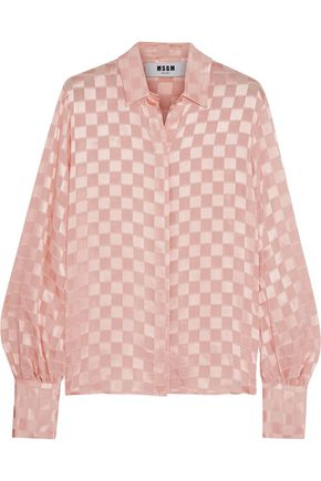 MSGM Checked satin and chiffon shirt