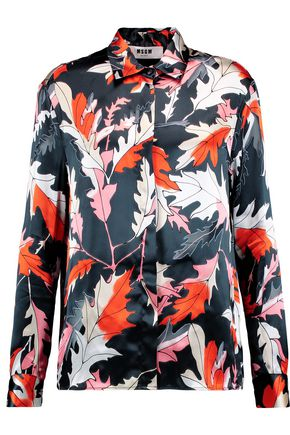 MSGM Printed silk-blend satin shirt