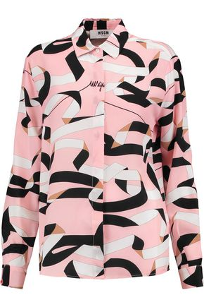 MSGM Printed satin shirt