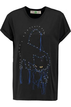 STELLA McCARTNEY Embroidered printed cotton-jersey T-shirt