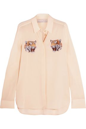 STELLA McCARTNEY Embroidered silk crepe de chine shirt