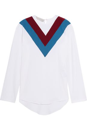 STELLA McCARTNEY Striped stretch-cady blouse