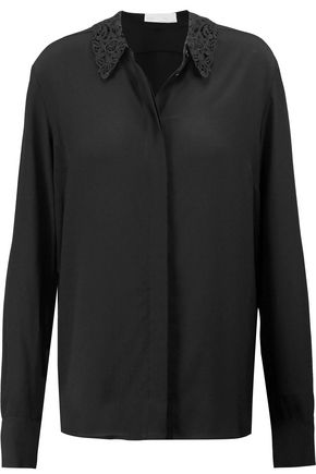 STELLA McCARTNEY Adria corded lace-trimmed silk-crepe shirt