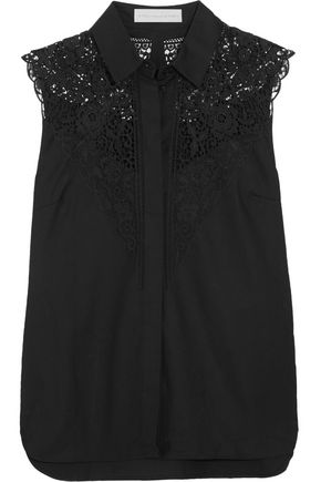 STELLA McCARTNEY Alexandra lace-paneled cotton-twill top