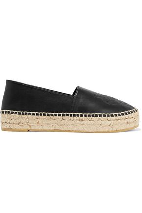 KENZO Embossed leather platform espadrilles