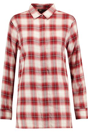 MAJE Checked brushed-cotton shirt