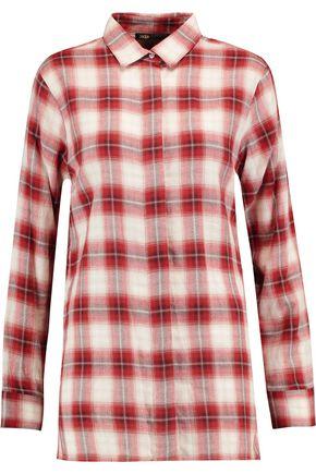 MAJE Checked brushed-cotton shirt