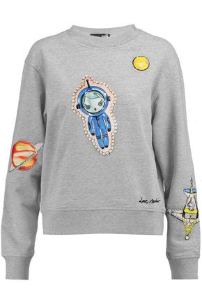 LOVE MOSCHINO Printed stretch-cotton jersey sweatshirt