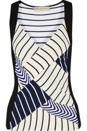 EMILIO PUCCI Paneled striped ribbed-knit top