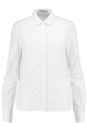VALENTINO Ruffled cotton-poplin shirt