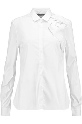 VALENTINO Appliquéd cotton-blend shirt