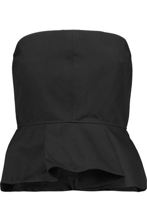 VALENTINO Strapless wool and silk-blend peplum top