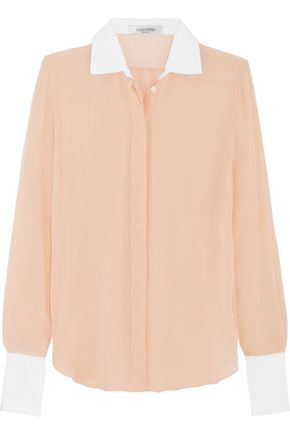 VALENTINO Cotton-trimmed silk-georgette shirt