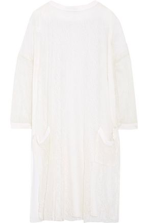 VALENTINO Lace-paneled wool-blend top