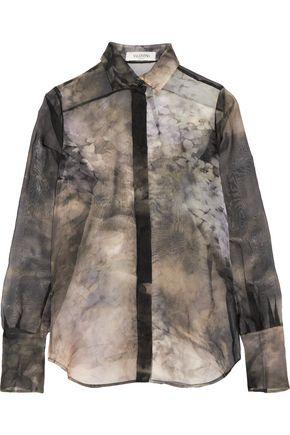 VALENTINO Floral-print silk shirt