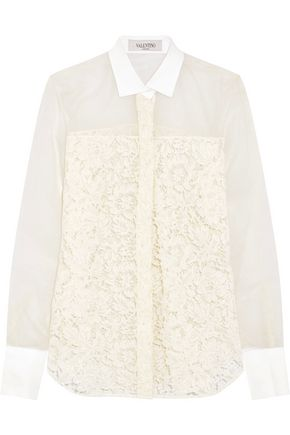 VALENTINO Chiffon-paneled cotton-blend lace shirt