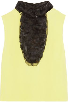 VALENTINO Faux feather-paneled crepe top