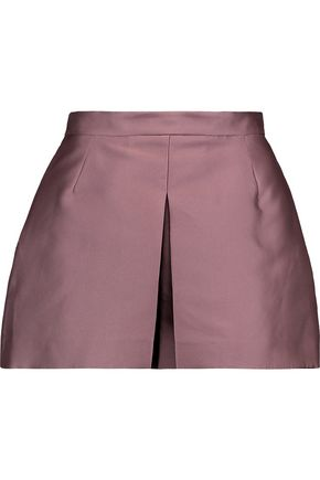 VALENTINO Box-pleated taffeta shorts