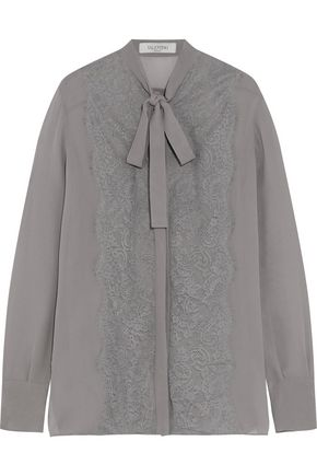 VALENTINO Pussy-bow lace-paneled silk blouse