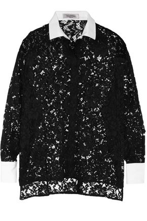 VALENTINO Piqué-trimmed cotton lace blouse