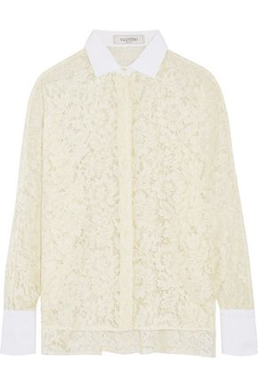 VALENTINO Cotton-trimmed giupure lace blouse