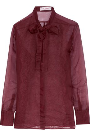 VALENTINO Pussy-bow lace-paneled silk shirt