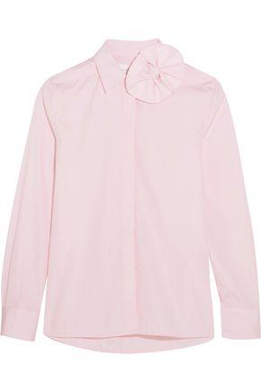 VICTORIA, VICTORIA BECKHAM Bow-embellished cotton-poplin shirt