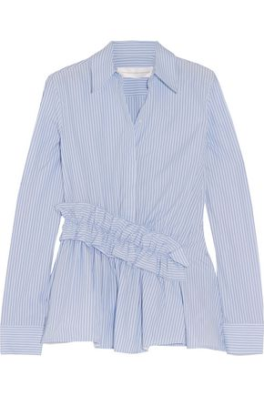 VICTORIA, VICTORIA BECKHAM Ruffled striped cotton shirt